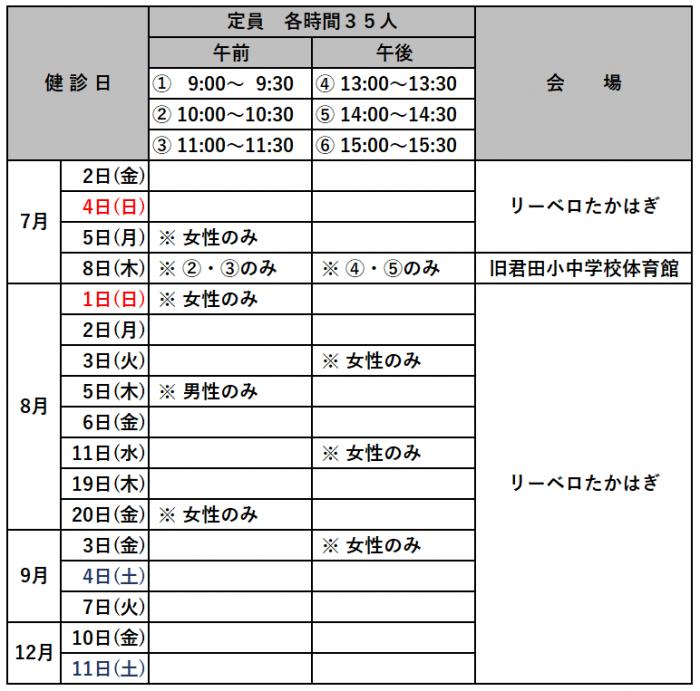 『R3健診日程表』の画像